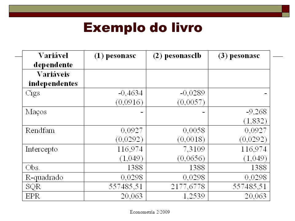 Danielle Carusi Machado - UFF - Econometria 2/2009 14 Exemplo do livro