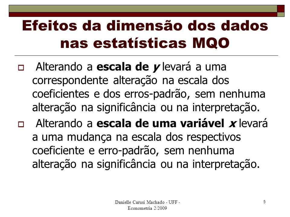 Danielle Carusi Machado - UFF - Econometria 2/2009 5 Efeitos da dimensão dos dados nas estatísticas MQO  Alterando a escala de y levará a uma corresp