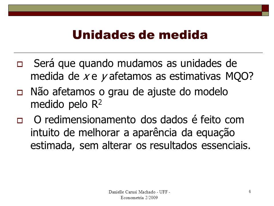 Danielle Carusi Machado - UFF - Econometria 2/2009 6 Unidades de medida  Será que quando mudamos as unidades de medida de x e y afetamos as estimativ