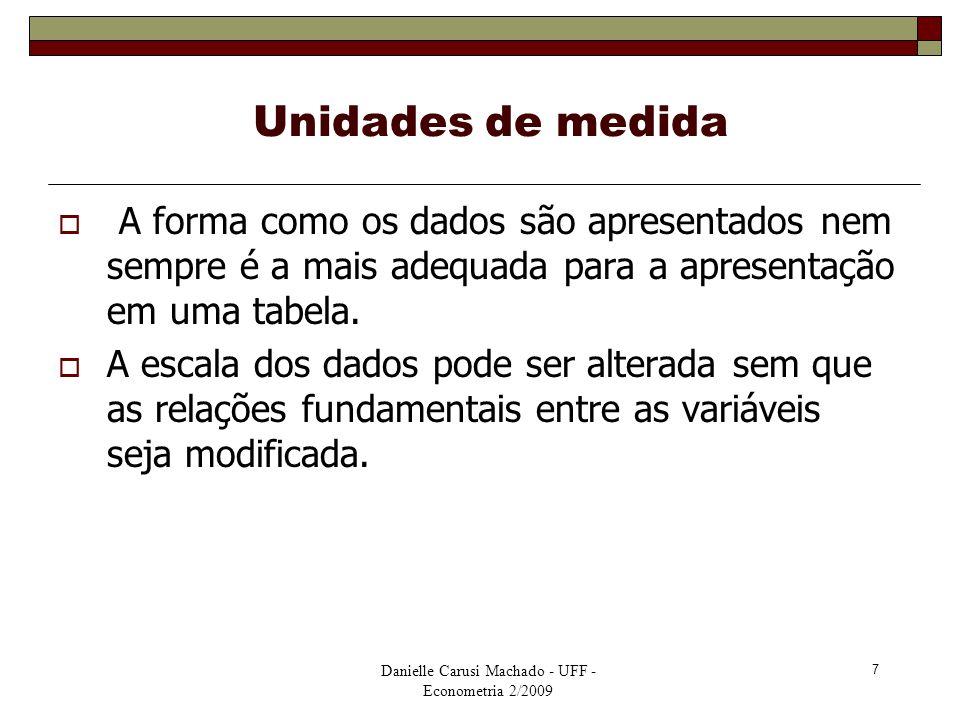 Danielle Carusi Machado - UFF - Econometria 2/2009 7 Unidades de medida  A forma como os dados são apresentados nem sempre é a mais adequada para a a