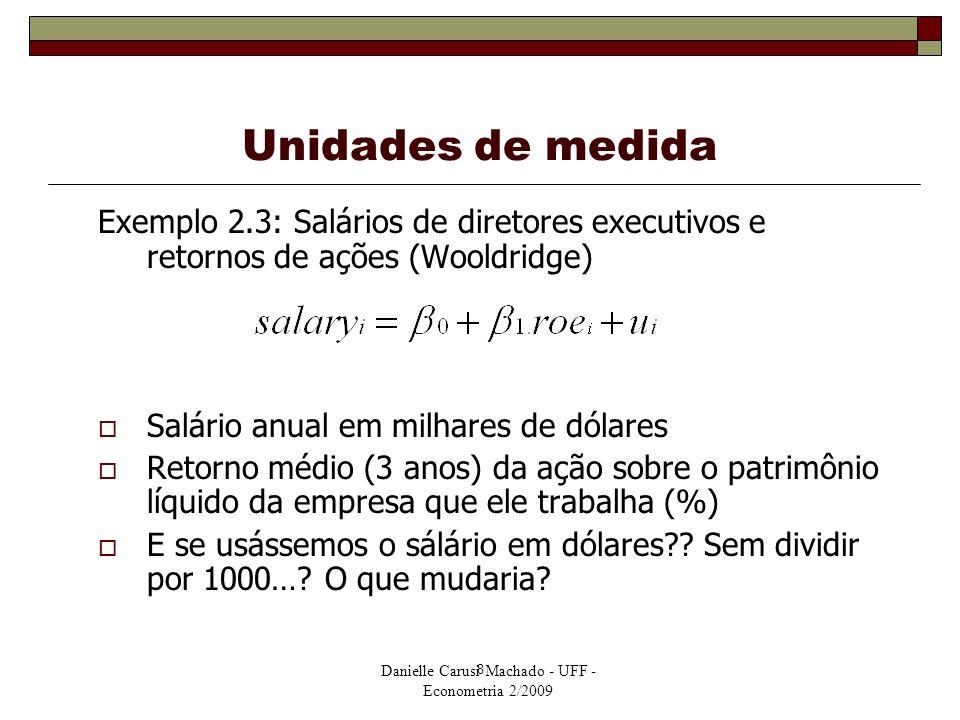 Danielle Carusi Machado - UFF - Econometria 2/2009 8 Unidades de medida Exemplo 2.3: Salários de diretores executivos e retornos de ações (Wooldridge)