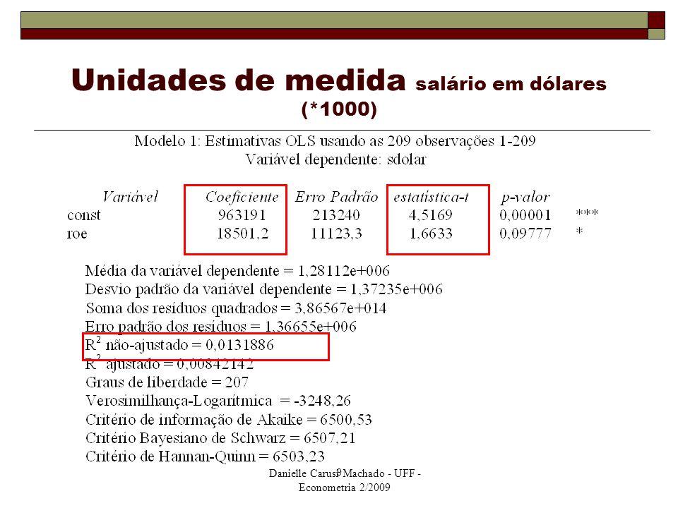 Danielle Carusi Machado - UFF - Econometria 2/2009 9 Unidades de medida salário em dólares (*1000)