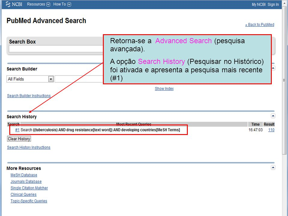 Retorna-se a Advanced Search (pesquisa avançada).