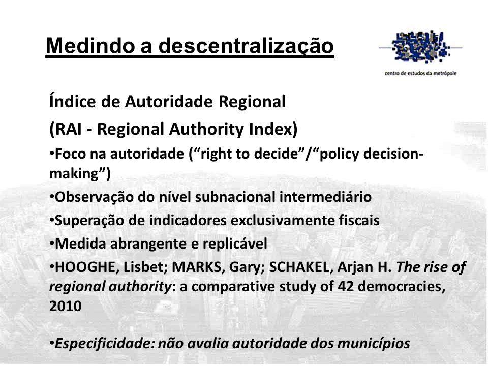 """Medindo a descentralização Índice de Autoridade Regional (RAI - Regional Authority Index) • Foco na autoridade (""""right to decide""""/""""policy decision- ma"""