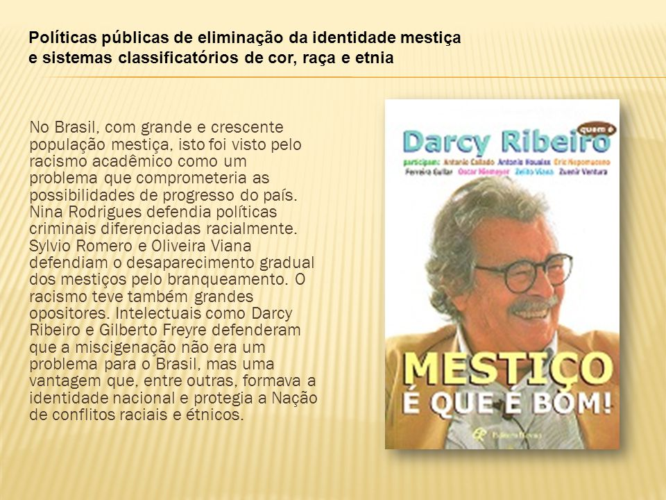 Políticas públicas de eliminação da identidade mestiça e sistemas classificatórios de cor, raça e etnia No Brasil, com grande e crescente população me