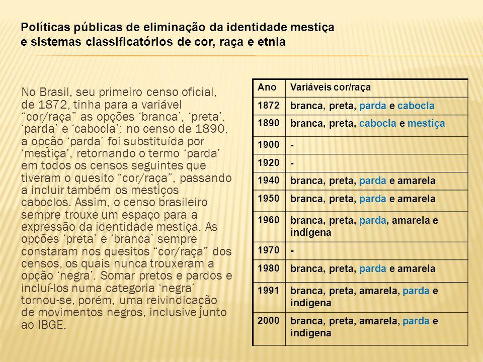 Políticas públicas de eliminação da identidade mestiça e sistemas classificatórios de cor, raça e etnia No Brasil, seu primeiro censo oficial, de 1872, tinha para a variável cor/raça as opções 'branca', 'preta', 'parda' e 'cabocla'; no censo de 1890, a opção 'parda' foi substituída por 'mestiça', retornando o termo 'parda' em todos os censos seguintes que tiveram o quesito cor/raça , passando a incluir também os mestiços caboclos.