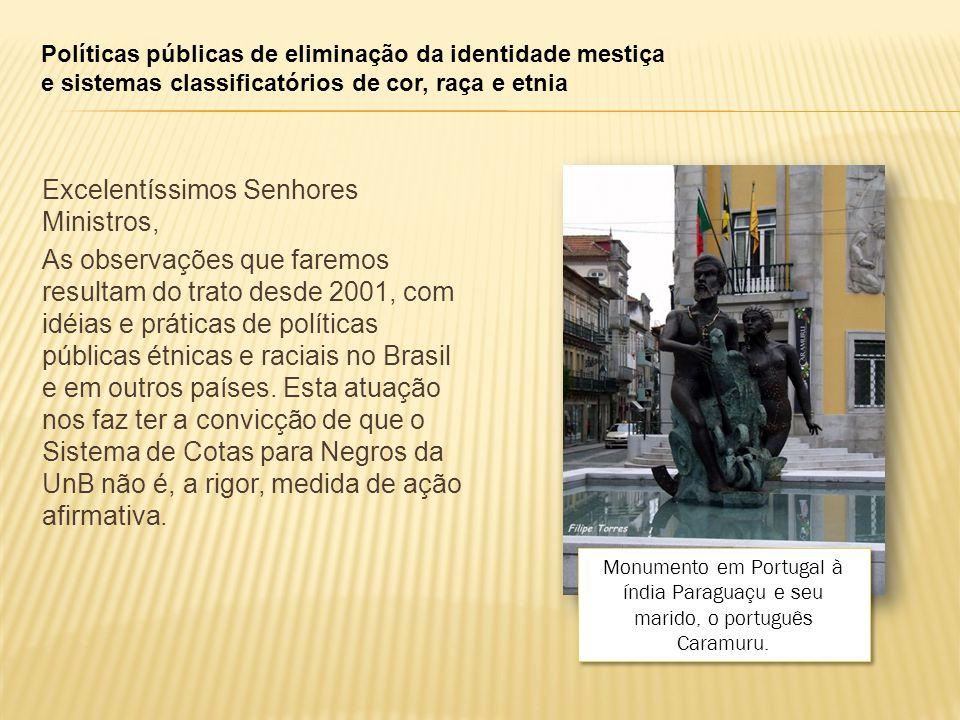 Políticas públicas de eliminação da identidade mestiça e sistemas classificatórios de cor, raça e etnia Excelentíssimos Senhores Ministros, As observações que faremos resultam do trato desde 2001, com idéias e práticas de políticas públicas étnicas e raciais no Brasil e em outros países.