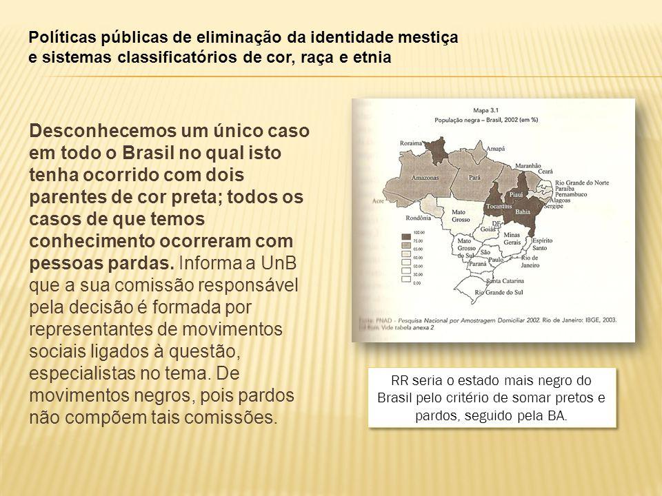 Políticas públicas de eliminação da identidade mestiça e sistemas classificatórios de cor, raça e etnia Desconhecemos um único caso em todo o Brasil no qual isto tenha ocorrido com dois parentes de cor preta; todos os casos de que temos conhecimento ocorreram com pessoas pardas.