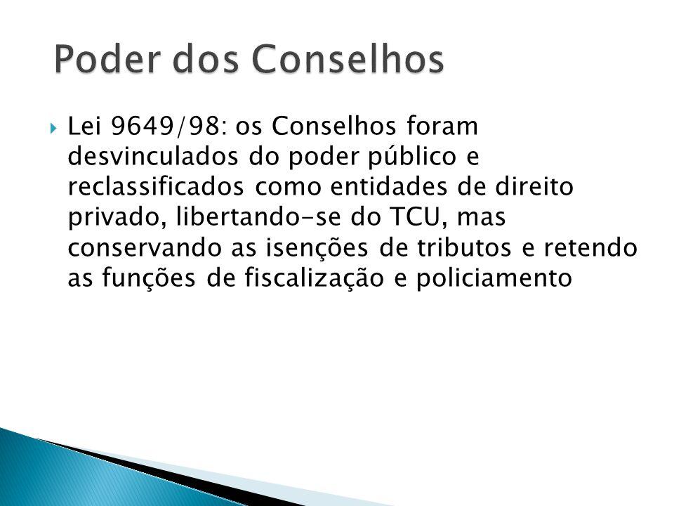  Lei 9649/98: os Conselhos foram desvinculados do poder público e reclassificados como entidades de direito privado, libertando-se do TCU, mas conser
