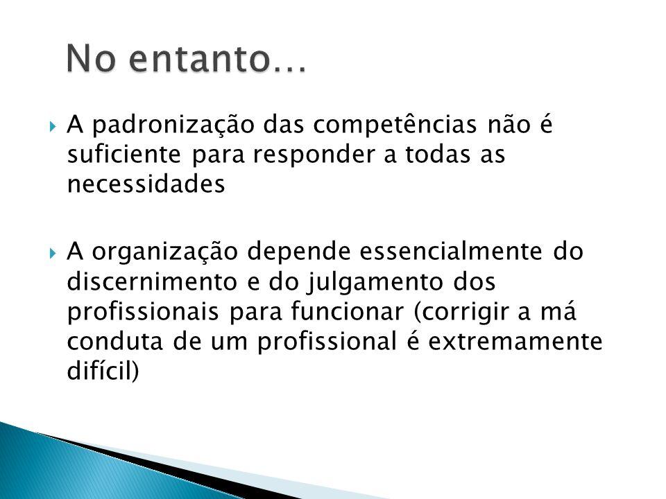 A padronização das competências não é suficiente para responder a todas as necessidades  A organização depende essencialmente do discernimento e do