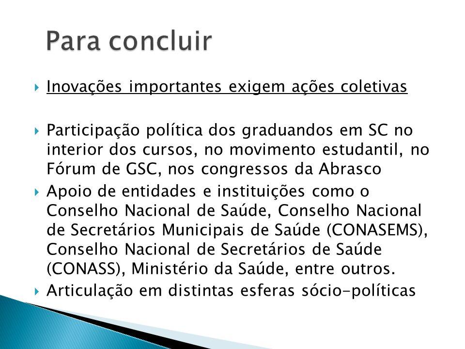  Inovações importantes exigem ações coletivas  Participação política dos graduandos em SC no interior dos cursos, no movimento estudantil, no Fórum