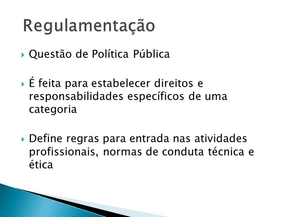  Questão de Política Pública  É feita para estabelecer direitos e responsabilidades específicos de uma categoria  Define regras para entrada nas at