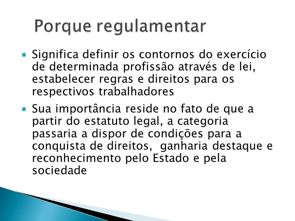  Significa definir os contornos do exercício de determinada profissão através de lei, estabelecer regras e direitos para os respectivos trabalhadores