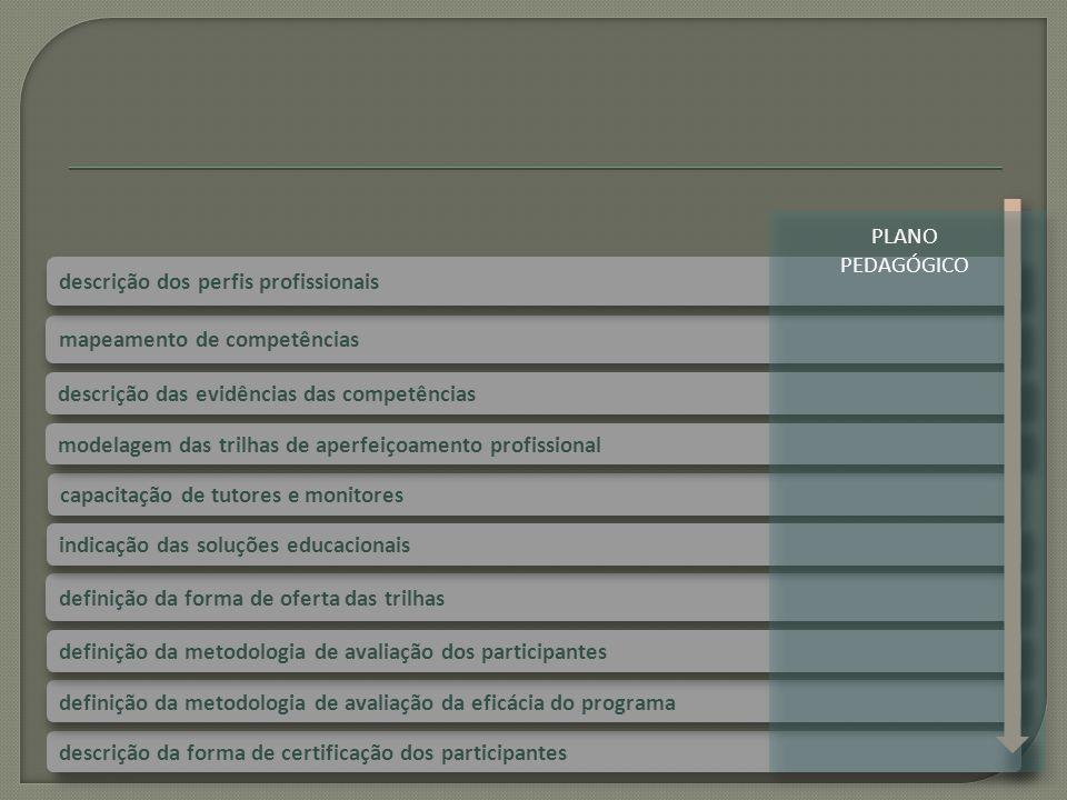 capacitação de tutores e monitores definição da forma de oferta das trilhas mapeamento de competências descrição dos perfis profissionais descrição da