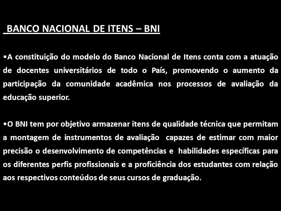 BANCO NACIONAL DE ITENS – BNI •A constituição do modelo do Banco Nacional de Itens conta com a atuação de docentes universitários de todo o País, prom