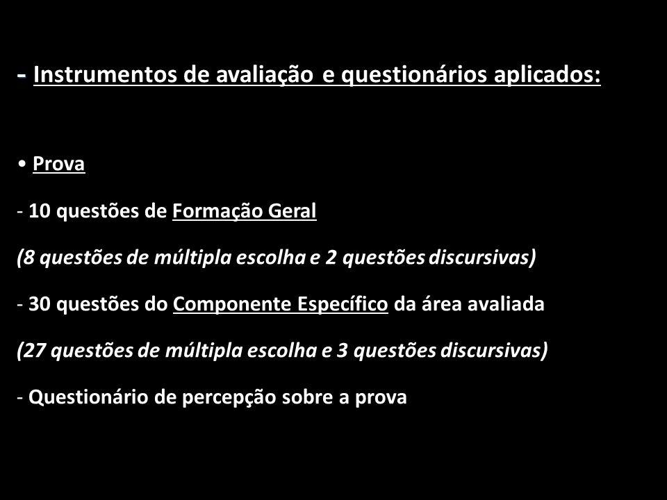 - - Instrumentos de avaliação e questionários aplicados: • Prova - 10 questões de Formação Geral (8 questões de múltipla escolha e 2 questões discursi