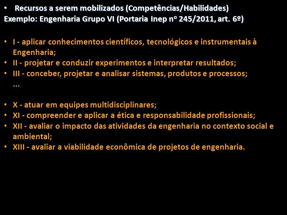 • Recursos a serem mobilizados (Competências/Habilidades) Exemplo: Engenharia Grupo VI (Portaria Inep n o 245/2011, art. 6º) • I - aplicar conheciment