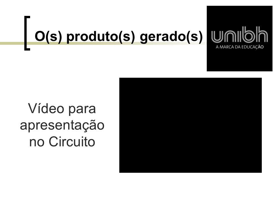 O(s) produto(s) gerado(s) Vídeo para apresentação no Circuito