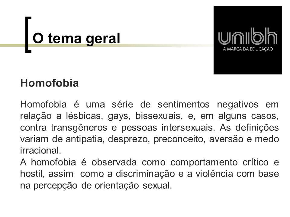 Objetivo principal Analisar os aspectos da Homofobia tanto no mundo como no Brasil, suas principais características, que fazem deste um dos maiores problemas da atualidade.