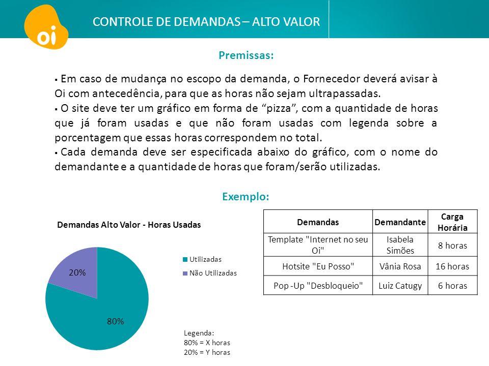 CONTROLE DE DEMANDAS – ALTO VALOR  Em caso de mudança no escopo da demanda, o Fornecedor deverá avisar à Oi com antecedência, para que as horas não s