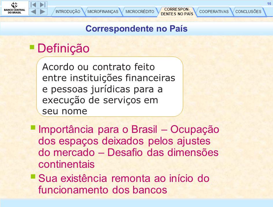 CONCLUSÕES COOPERATIVAS CORRESPON- DENTES NO PAÍS CORRESPON- DENTES NO PAÍS MICROCRÉDITO MICROFINANÇAS INTRODUÇÃO 16  Definição Acordo ou contrato feito entre instituições financeiras e pessoas jurídicas para a execução de serviços em seu nome  Importância para o Brasil – Ocupação dos espaços deixados pelos ajustes do mercado – Desafio das dimensões continentais  Sua existência remonta ao início do funcionamento dos bancos Correspondente no País CORRESPON- DENTES NO PAÍS CORRESPON- DENTES NO PAÍS