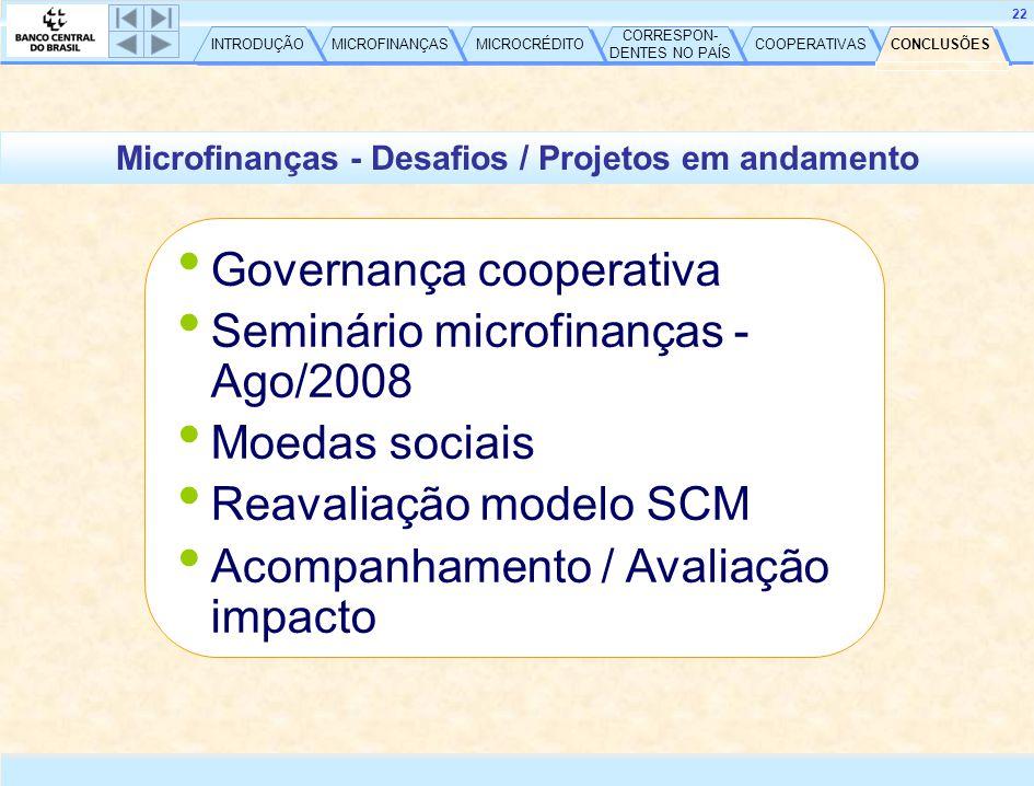 CONCLUSÕES COOPERATIVAS CORRESPON- DENTES NO PAÍS CORRESPON- DENTES NO PAÍS MICROCRÉDITO MICROFINANÇAS INTRODUÇÃO 22 Microfinanças - Desafios / Projetos em andamento • Governança cooperativa • Seminário microfinanças - Ago/2008 • Moedas sociais • Reavaliação modelo SCM • Acompanhamento / Avaliação impacto CONCLUSÕES