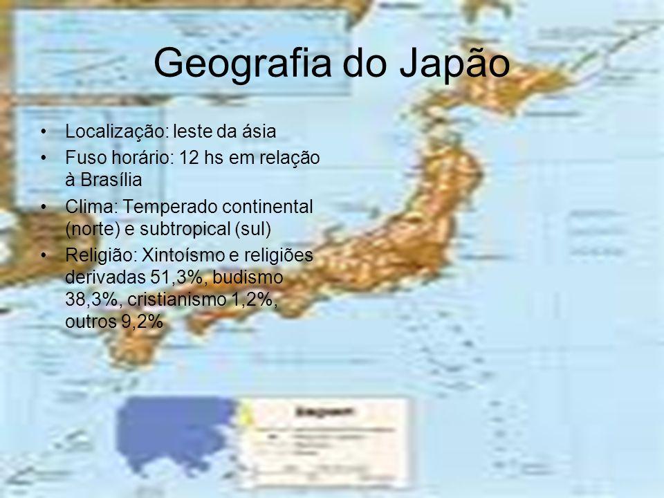 Geografia do Japão •L•Localização: leste da ásia •F•Fuso horário: 12 hs em relação à Brasília •C•Clima: Temperado continental (norte) e subtropical (s