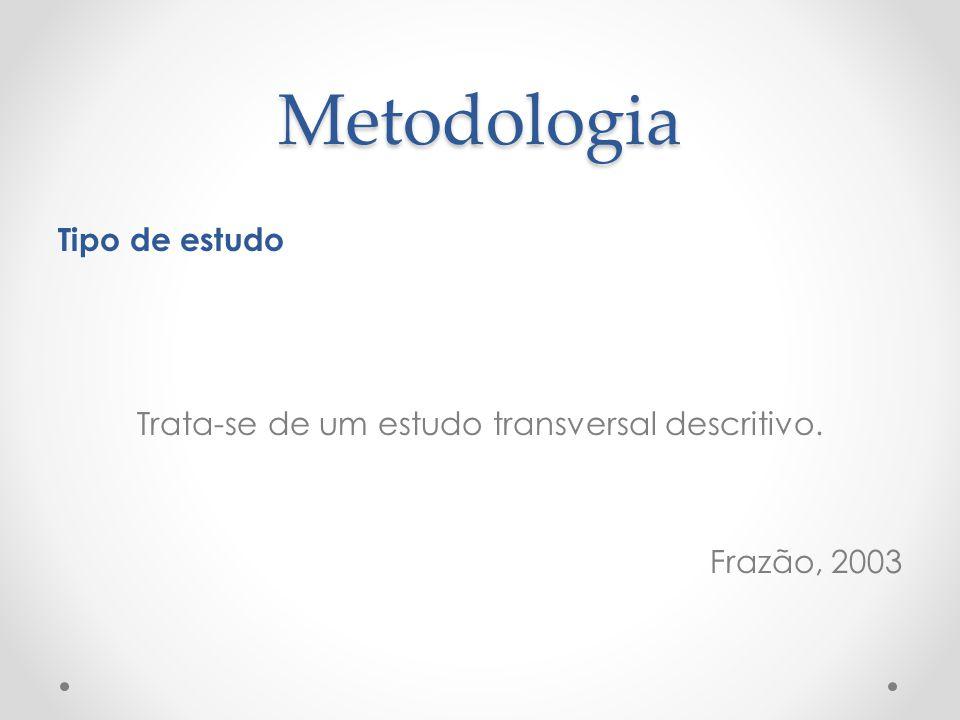 Metodologia Tipo de estudo Trata-se de um estudo transversal descritivo. Frazão, 2003