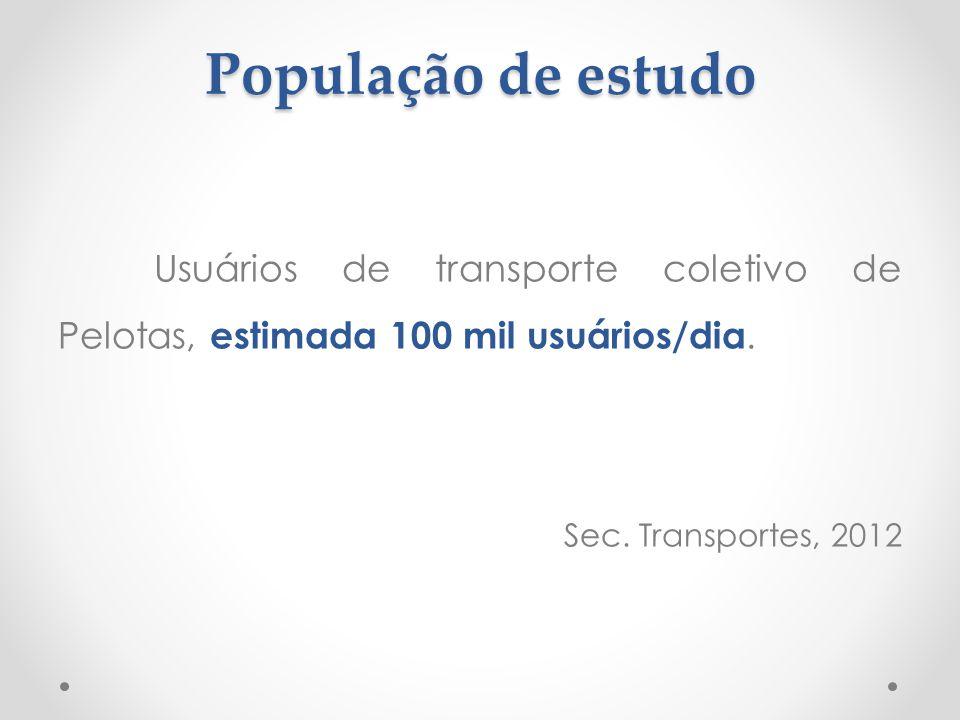 População de estudo Usuários de transporte coletivo de Pelotas, estimada 100 mil usuários/dia. Sec. Transportes, 2012