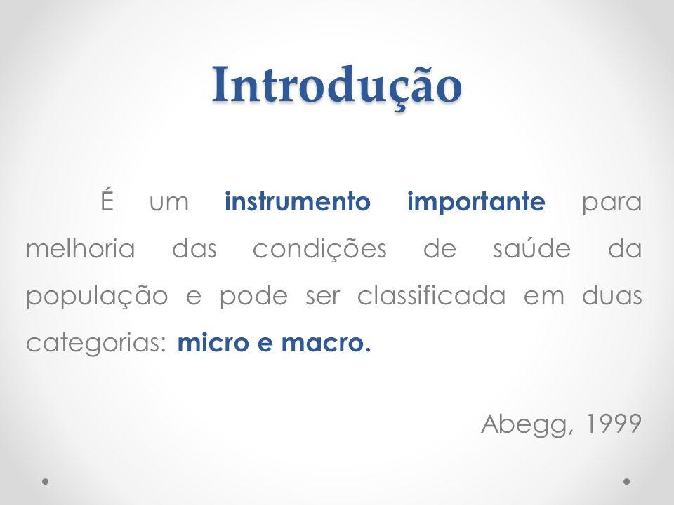 Introdução É um instrumento importante para melhoria das condições de saúde da população e pode ser classificada em duas categorias: micro e macro. Ab