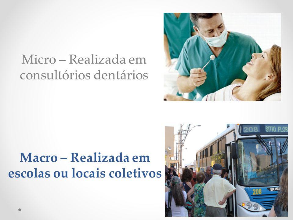 Micro – Realizada em consultórios dentários Macro – Realizada em escolas ou locais coletivos