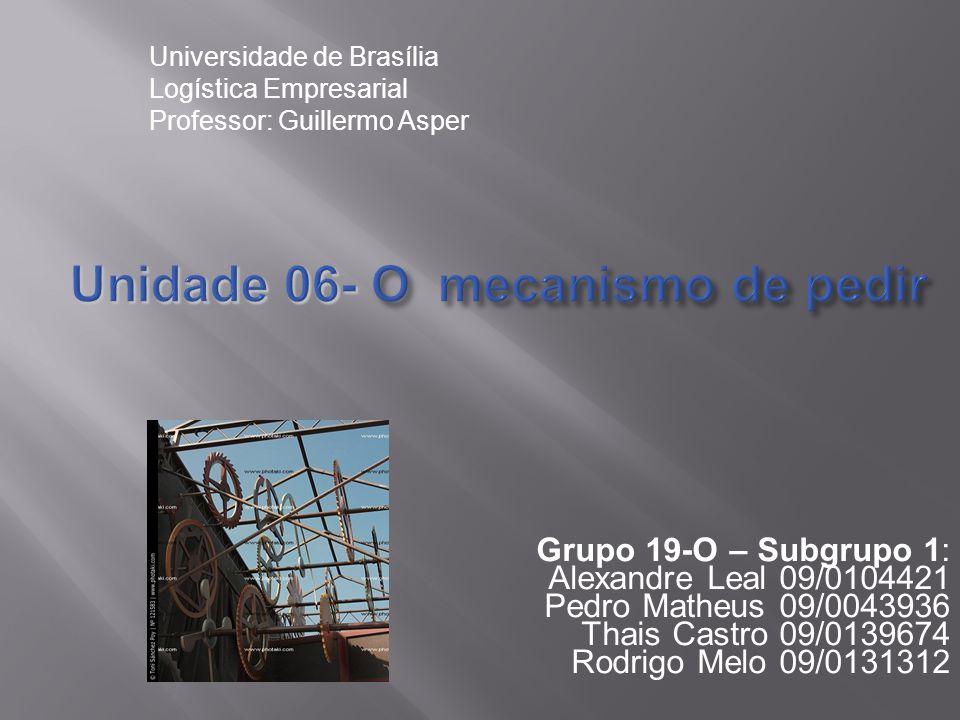 Unidade 06- O mecanismo de pedir Grupo 19-O – Subgrupo 1: Alexandre Leal 09/0104421 Pedro Matheus 09/0043936 Thais Castro 09/0139674 Rodrigo Melo 09/0