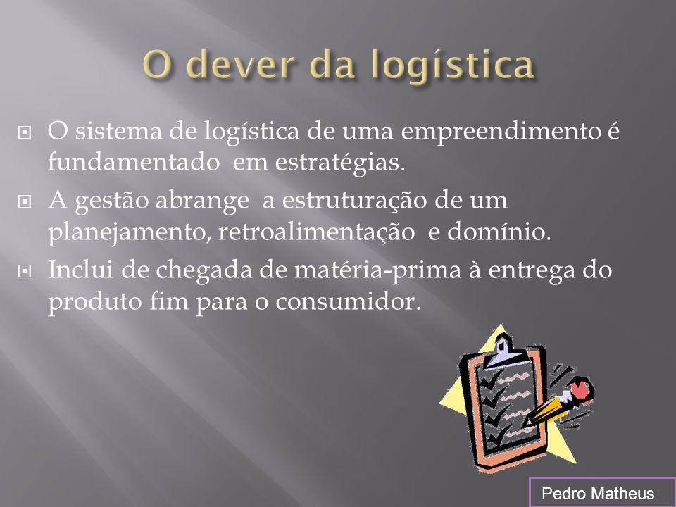  O sistema de logística de uma empreendimento é fundamentado em estratégias.  A gestão abrange a estruturação de um planejamento, retroalimentação e