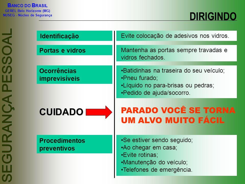 B ANCO DO B RASIL GEREL Belo Horizonte (MG) NUSEG - Núcleo de Segurança Identificação Evite colocação de adesivos nos vidros. Portas e vidros Mantenha