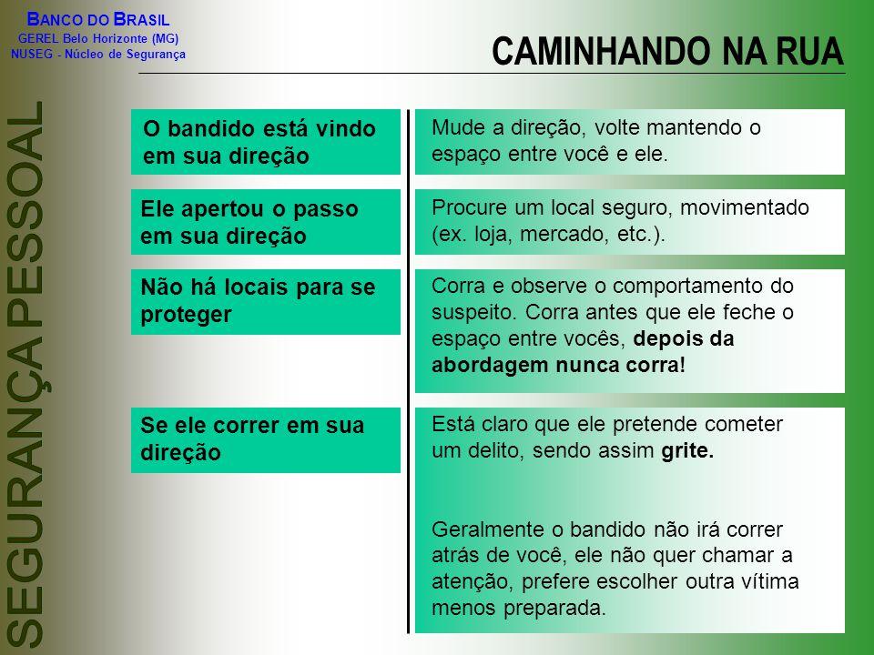 B ANCO DO B RASIL GEREL Belo Horizonte (MG) NUSEG - Núcleo de Segurança O bandido está vindo em sua direção Mude a direção, volte mantendo o espaço en