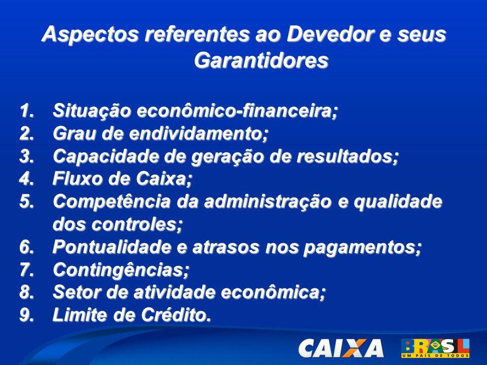 Aspectos referentes ao Devedor e seus Garantidores 1.Situação econômico-financeira; 2.Grau de endividamento; 3.Capacidade de geração de resultados; 4.