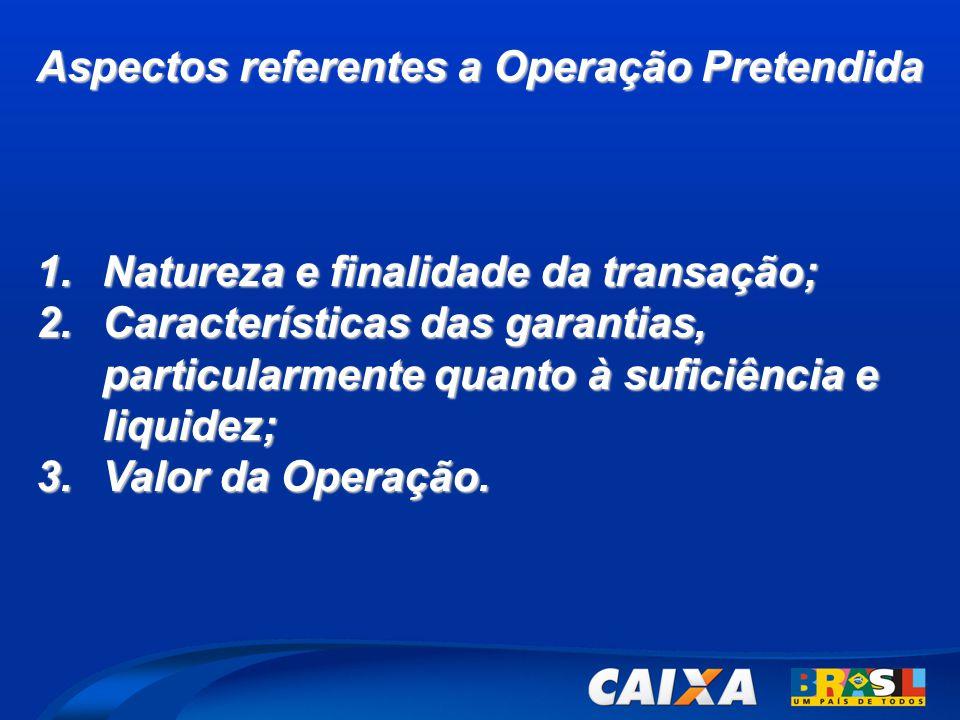 Aspectos referentes a Operação Pretendida 1.Natureza e finalidade da transação; 2.Características das garantias, particularmente quanto à suficiência e liquidez; 3.Valor da Operação.