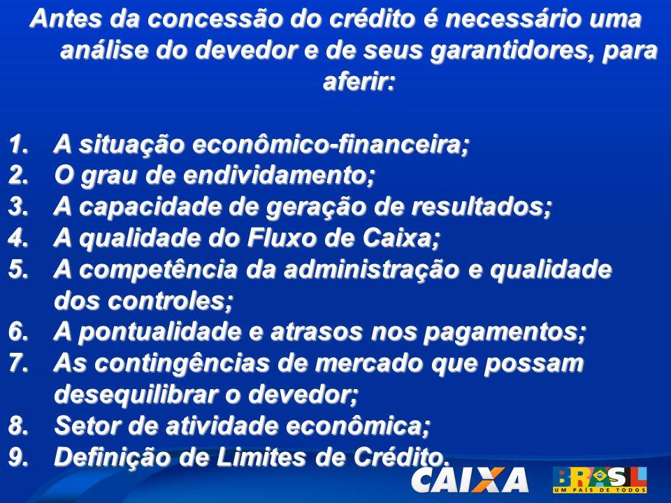 Antes da concessão do crédito é necessário uma análise do devedor e de seus garantidores, para aferir: 1.A situação econômico-financeira; 2.O grau de