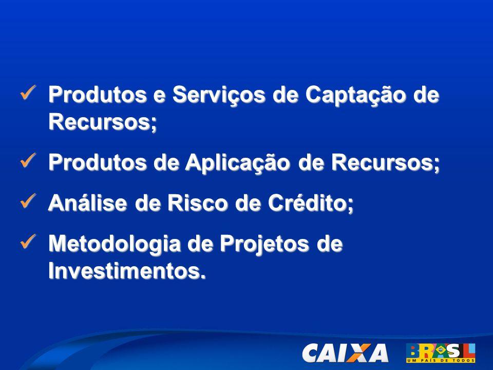  Produtos e Serviços de Captação de Recursos;  Produtos de Aplicação de Recursos;  Análise de Risco de Crédito;  Metodologia de Projetos de Invest