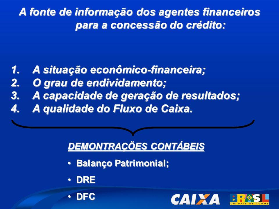 A fonte de informação dos agentes financeiros para a concessão do crédito: 1.A situação econômico-financeira; 2.O grau de endividamento; 3.A capacidade de geração de resultados; 4.A qualidade do Fluxo de Caixa.