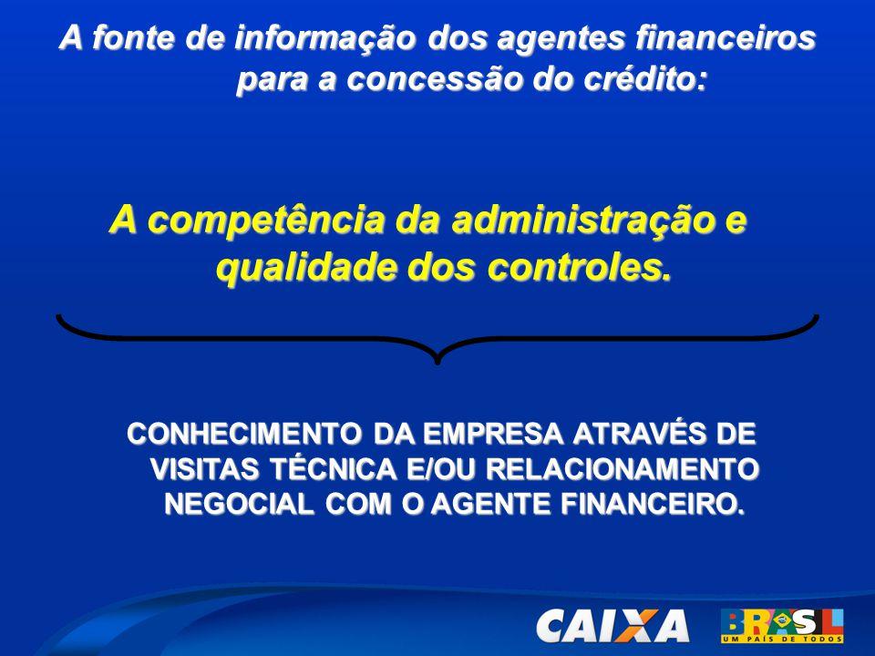A fonte de informação dos agentes financeiros para a concessão do crédito: CONHECIMENTO DA EMPRESA ATRAVÉS DE VISITAS TÉCNICA E/OU RELACIONAMENTO NEGOCIAL COM O AGENTE FINANCEIRO.