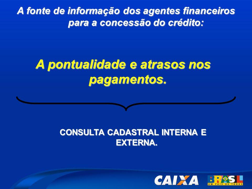 A fonte de informação dos agentes financeiros para a concessão do crédito: CONSULTA CADASTRAL INTERNA E EXTERNA. A pontualidade e atrasos nos pagament