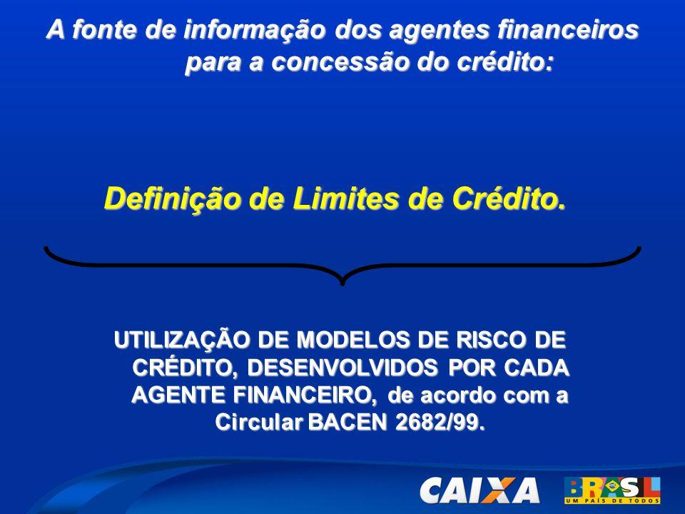 A fonte de informação dos agentes financeiros para a concessão do crédito: UTILIZAÇÃO DE MODELOS DE RISCO DE CRÉDITO, DESENVOLVIDOS POR CADA AGENTE FINANCEIRO, de acordo com a Circular BACEN 2682/99.