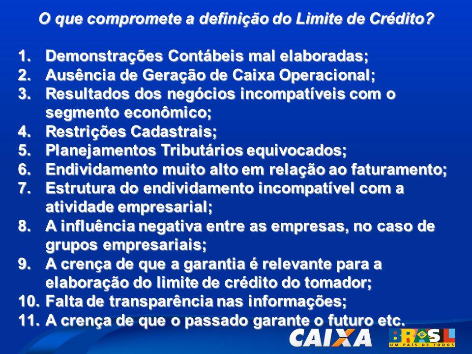 O que compromete a definição do Limite de Crédito? 1.Demonstrações Contábeis mal elaboradas; 2.Ausência de Geração de Caixa Operacional; 3.Resultados