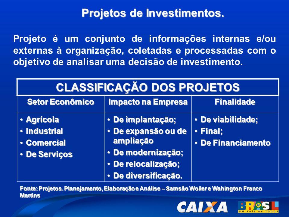 Projetos de Investimentos. Projeto é um conjunto de informações internas e/ou externas à organização, coletadas e processadas com o objetivo de analis
