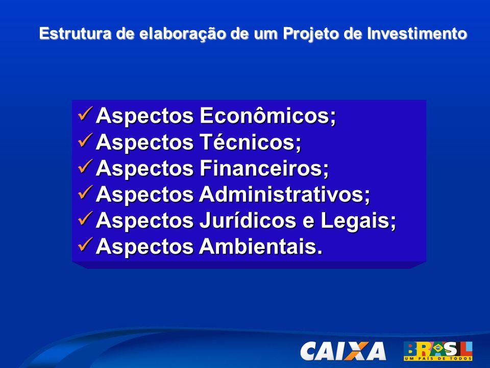 Estrutura de elaboração de um Projeto de Investimento  Aspectos Econômicos;  Aspectos Técnicos;  Aspectos Financeiros;  Aspectos Administrativos;  Aspectos Jurídicos e Legais;  Aspectos Ambientais.
