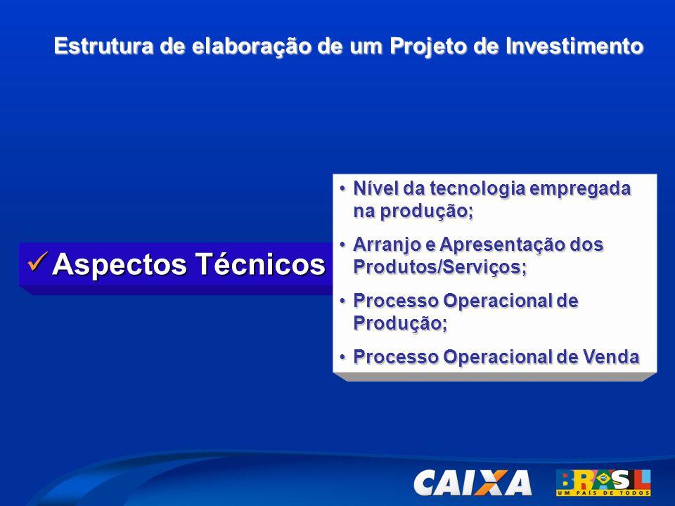 Estrutura de elaboração de um Projeto de Investimento  Aspectos Técnicos •Nível da tecnologia empregada na produção; •Arranjo e Apresentação dos Produtos/Serviços; •Processo Operacional de Produção; •Processo Operacional de Venda