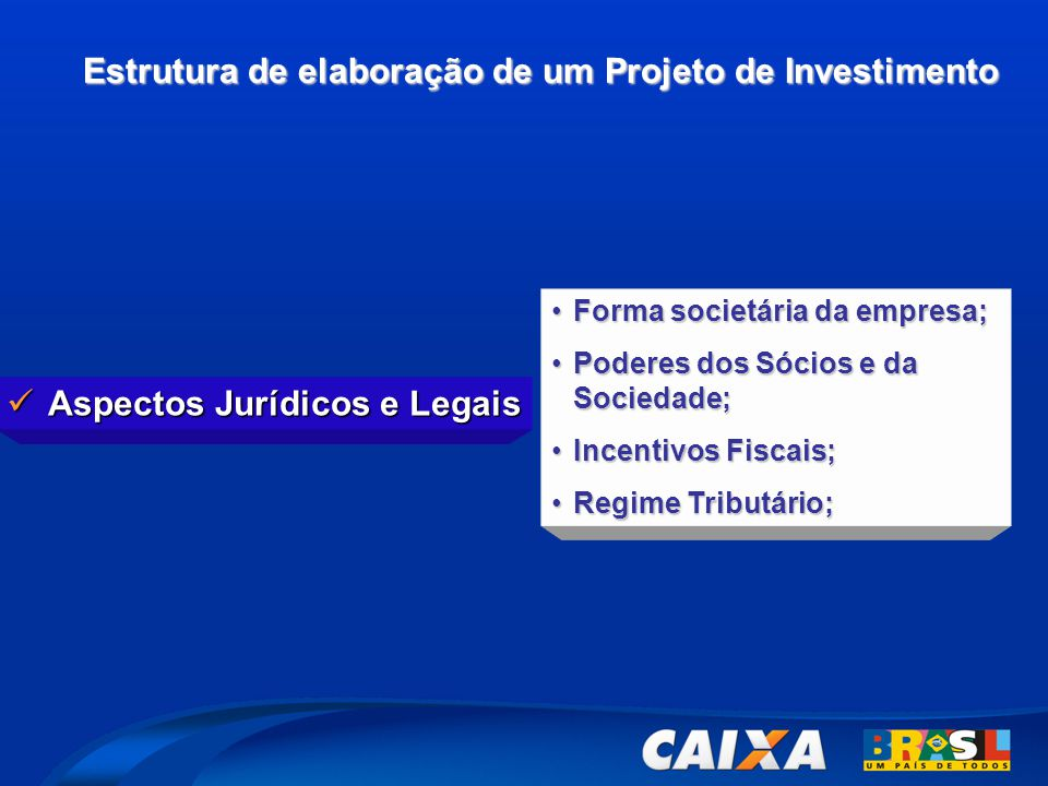 Estrutura de elaboração de um Projeto de Investimento  Aspectos Jurídicos e Legais •Forma societária da empresa; •Poderes dos Sócios e da Sociedade; •Incentivos Fiscais; •Regime Tributário;