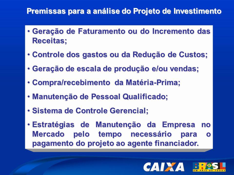 Premissas para a análise do Projeto de Investimento •Geração de Faturamento ou do Incremento das Receitas; •Controle dos gastos ou da Redução de Custo