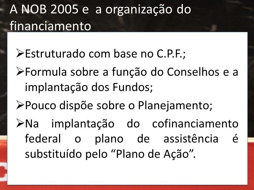 A NOB 2005 e a organização do financiamento  Estruturado com base no C.P.F.;  Formula sobre a função do Conselhos e a implantação dos Fundos;  Pouc